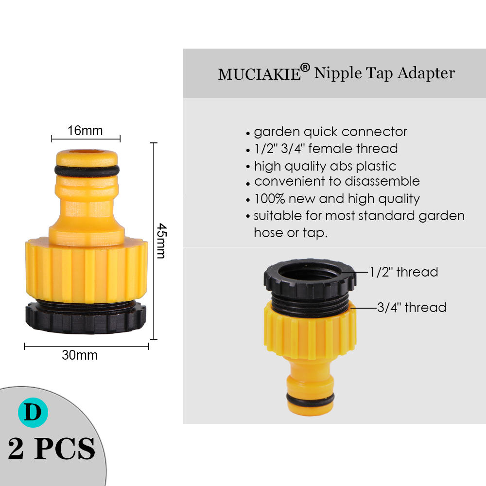 """Hbc4d9dbc5dec4e08846f5e25eb6207707 MUCIAKIE Variety Style Garden Tap 1/2"""" 3/4"""" Male Female Thread Nipple Joint 1/4"""" Hose Quick Connector Irrigation Water Splitters"""