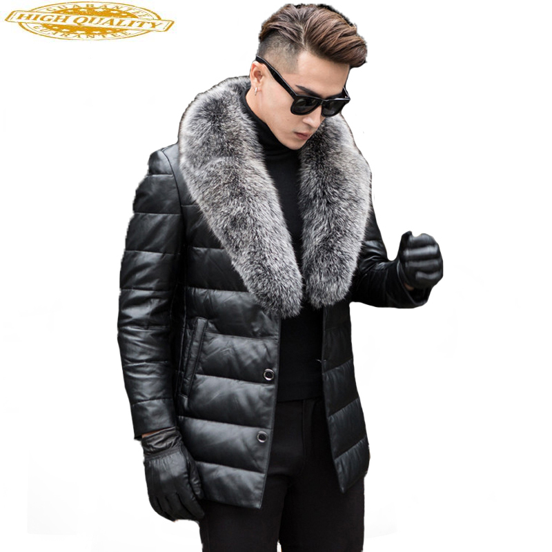 Men's Genuine Leather Down Jacket Male Winter Coat Men Fox Fur Collar Sheepskin Leather Jackets Jaqueta De Couro KJ651