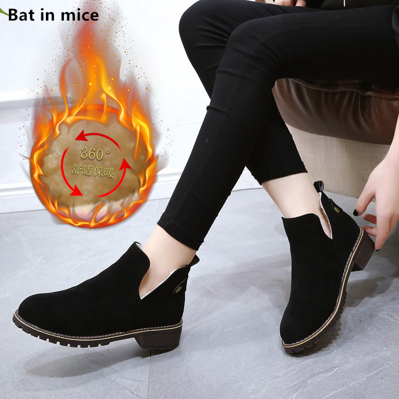 new Autumn Women Ankle Martin boots shoes women Round Toe low heels Party Wedding warm plush snow boots woman Booties mujer T120