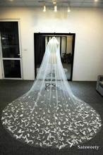מותאם אישית רך טול קפלת כלה רעלות עם סומק לבן/שנהב רעלה לכלה 3D פרפר חתונת רעלה עם קריסטלים