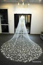 Aangepaste Zachte Tulle Kapel Bridal Veils Met Blusher Wit/Ivoor Sluier Voor Bridal 3D Vlinder Bruiloft Sluier Met Kristallen