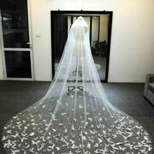 Veli da sposa personalizzati in Tulle morbido con fard velo bianco/avorio per velo da sposa farfalla 3D da sposa con cristalli