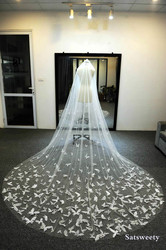 Customized Soft Tulle Chapel Bridal Veils with Blusher White/Ivory Veil for Bridal 3D Butterfly Wedding Veil with Crystals