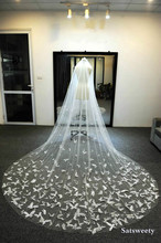Dostosowane miękki tiul kaplica welony ślubne z różu biały/Ivory welon dla Bridal 3D Butterfly welon slubny z kryształami