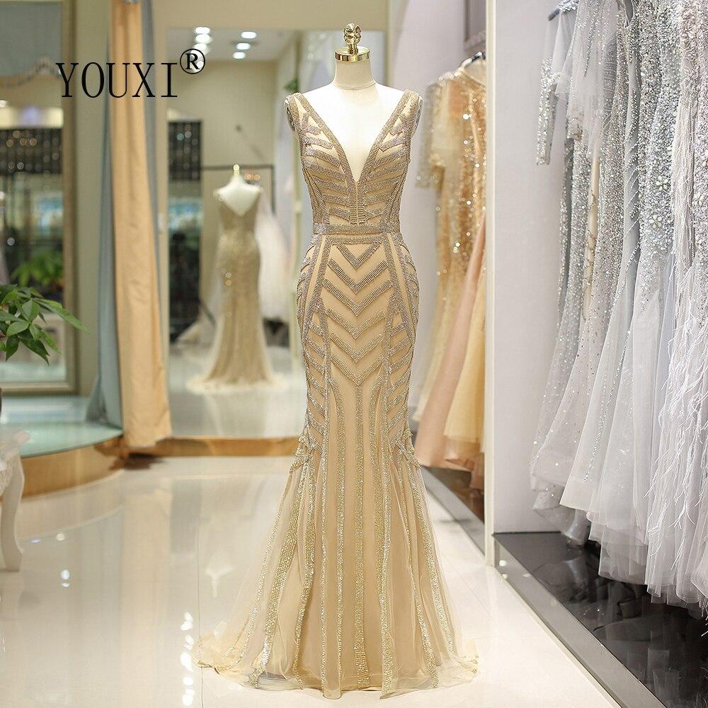 US $18.18 18% OFFYOUXI Mermaid Evening Dress V Neck Gold Crystal Beading  Abendkleider Lang Formal Gown robe de soireeEvening Dresses - AliExpress
