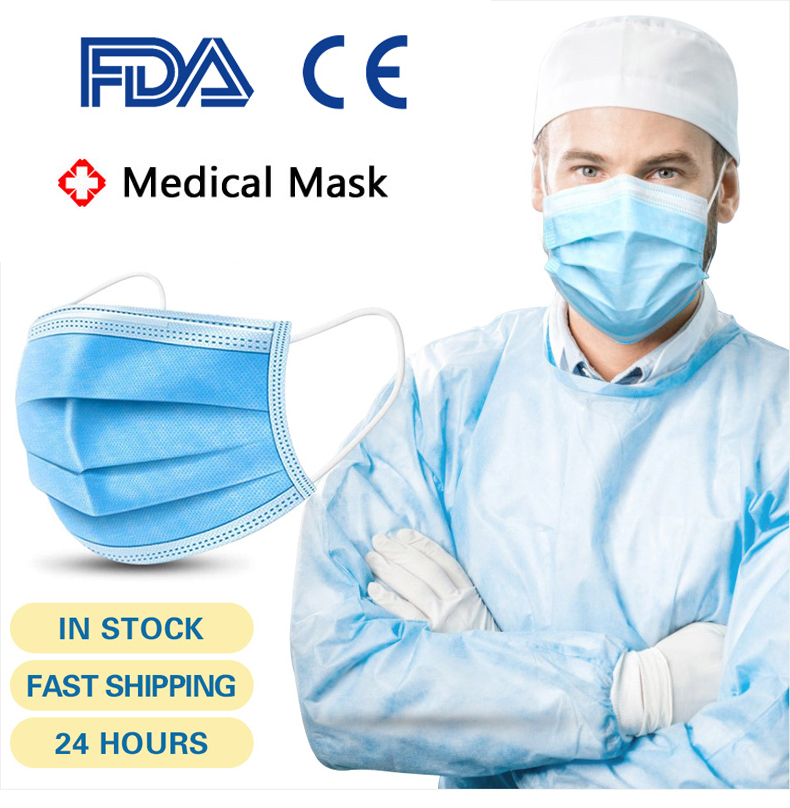 Medical Surgical Mask Face Mask Mouth Filter Disposable Mask 3 Layers Protective Face Shield Masks