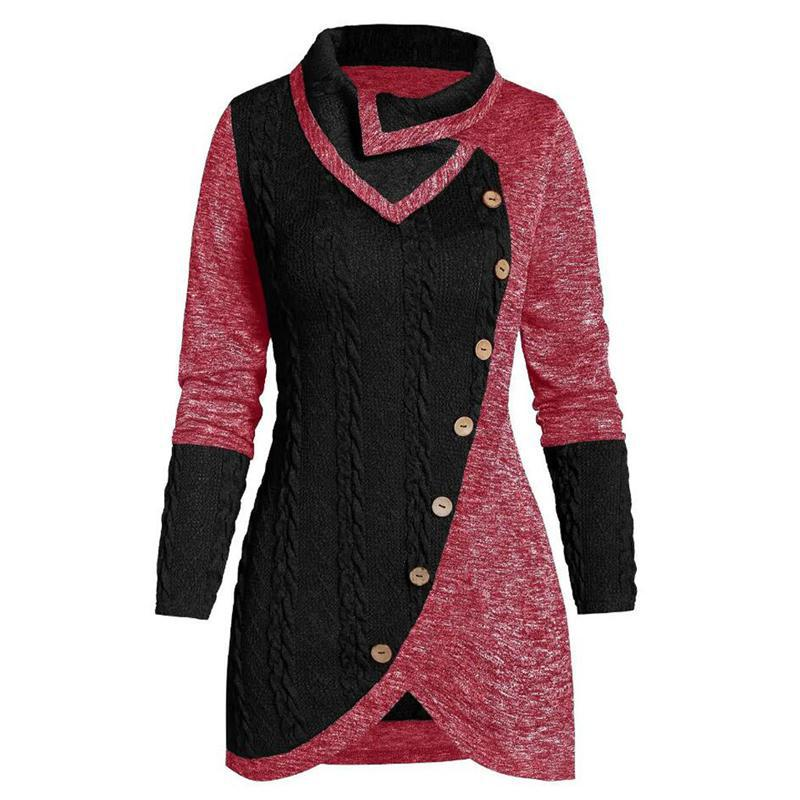 Plus Size 5xl Winter Asymmetric Buttons Tops Tunic Sweater Women Warm Long Sleeve Knitted Pullover Sweaters Jumper