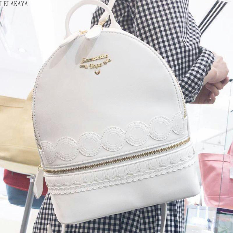 Sailor Moon Anime Printed PU Tsukino Usagi Princess Serenity Girls Fashion Zipper White Lolita Shoulder Bag Lady Travel Backpack