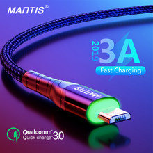 MANTIS 3m 2m LED Micro Usb Cable For Samsung Xiaomi 3A Fast Charging Microusb Charger Android Mobile Phone Data Wire Cord(China)