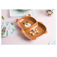 Children's Bowl Ceramic Household Cute Cartoon Plate Tableware Dish Set Creative Rabbit Baby Girl's Heart