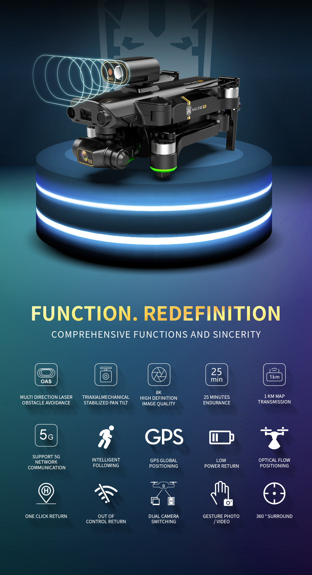 Hbc4e575d5d3d41a3b4a549b838d80119a - KAI ONE MAX GPS Drone 4K Camera 5G FPV WiFi Laser Obstacle Avoidance Altitude Hold Brushless RC Quadcopter Profesional Dron