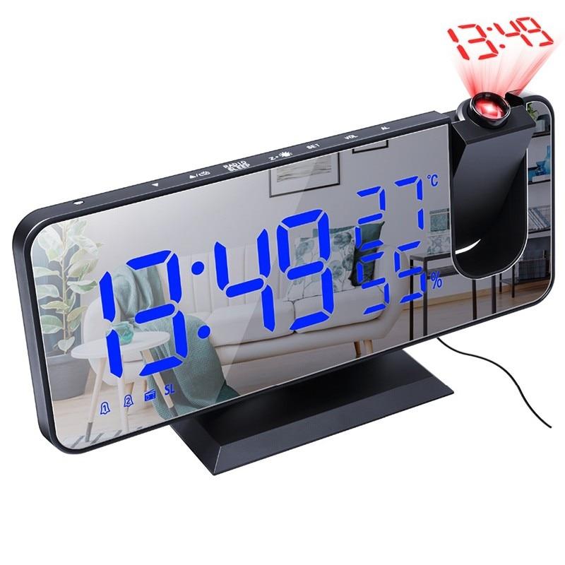 2021 led digital despertador relógio de mesa eletrônico relógios tempo fm rádio tempo projetor função snooze relógio de cabeceira Despertadores    -