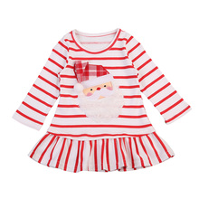 Pudcoco New Baby Girls Christmas Santa Claus Little Cute Casual Xmas Striped Dress Clothes 0-5Y