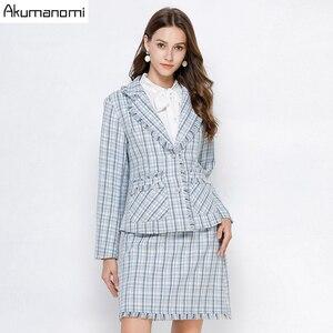 Image 1 - Conjunto de 2 piezas a cuadros para mujer, ropa de otoño, Azul, de talla grande 5xl, 4xl, 3xl, de manga larga con bolsillos, con borlas, minifalda, trajes de chándal de dos piezas