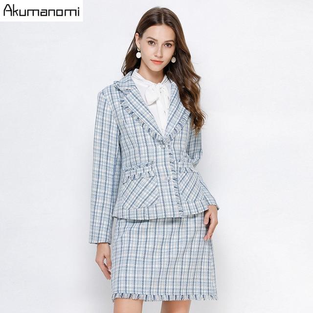 Conjunto de 2 piezas a cuadros para mujer, ropa de otoño, Azul, de talla grande 5xl, 4xl, 3xl, de manga larga con bolsillos, con borlas, minifalda, trajes de chándal de dos piezas