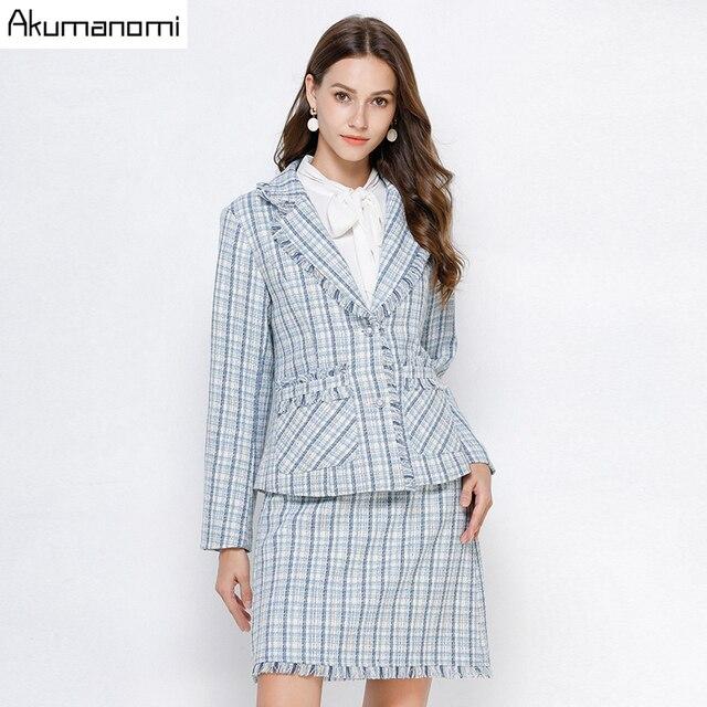 Ekose 2 parça Set kadın sonbahar mavi artı boyutu 5xl 4xl 3xl tam kollu cep püskül üstleri Mini etek iki parça kıyafetler eşofman
