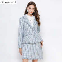 Plaid 2 Piece Set Women Autumn Blue Plus Size 5xl 4xl 3xl Full Sleeve Pocket Tassel Tops Mini Skirt Two Piece Outfits Sweatsuit