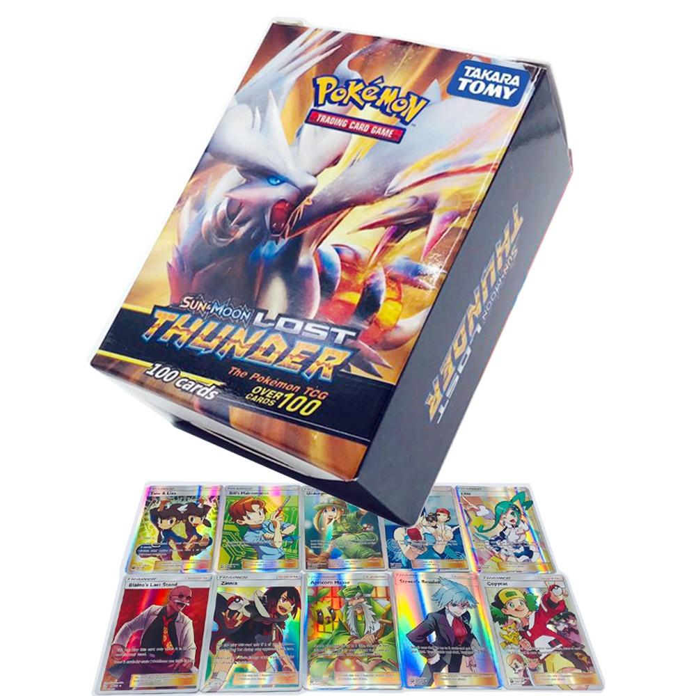 Takara Tomy Pokemon Card 100PCS GX EX MEGA Flash 3D Version Lost Thunder Collectible Christmas Gifts Children Toy