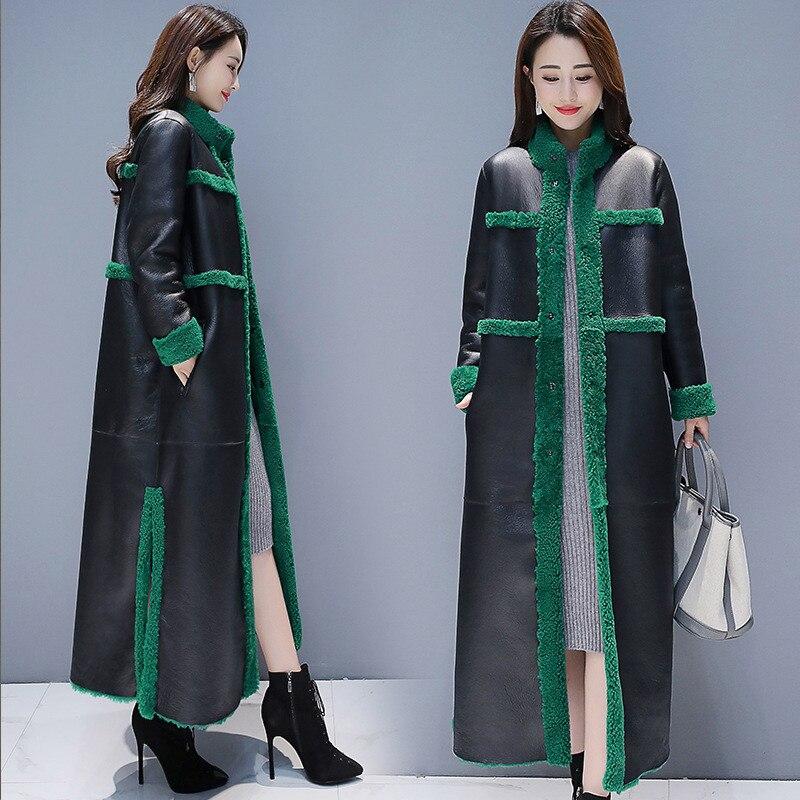 Image 2 - 女性子羊の毛皮のコート 2018 新冬プラスサイズの毛皮のコート 2 側面着用スエード Maix 毛皮ジャケットフェイクレザー毛皮コート -    グループ上の レディース衣服 からの フェイクファー の中