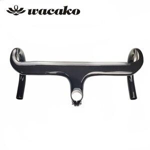 Image 4 - Wacako 2019 Volle Carbon faser Integrierte Road Fahrrad Lenker Radfahren Fahrrad Teile Rennrad Lenker Mit Vorbau 28,6mm 348g