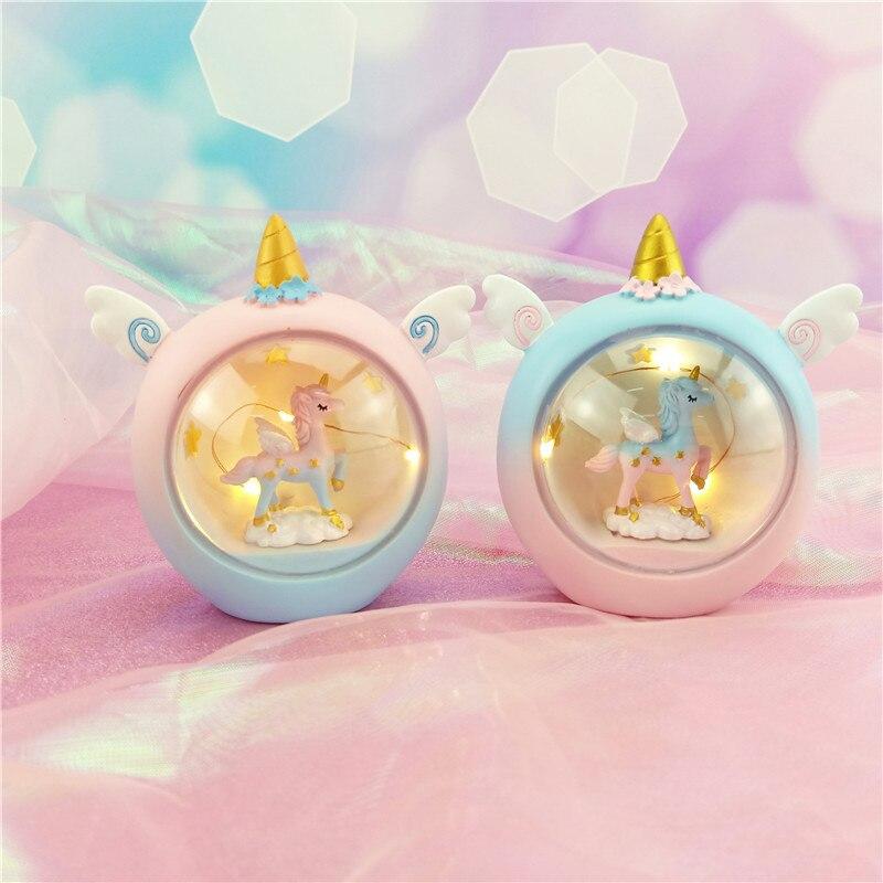 LED Resin Cartoon Unicorn Novetly Light Baby Nursery Lamp Bedroom Decor Night Light Animal Starry Light Christmas Gift For Kids
