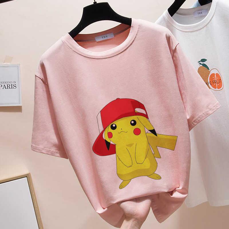 Estate 2019 T Shirt per Le Donne Nuovo Esclusivo Donne Magliette E Camicette Pokemon Magliette Donne Harajuku T-Shirt O-Collo Rosa Kawaii Magliette E Camicette