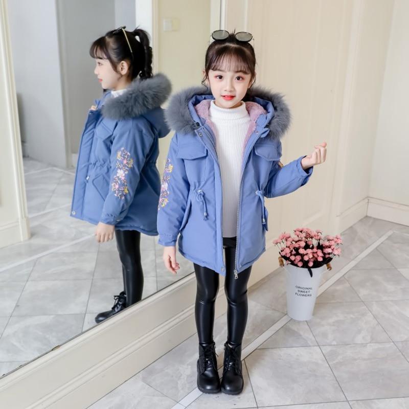 Girls Thick Fur Collar Casual Coat Children Hooded Big Coat Keep Warm Winter UK