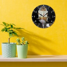 Kitten Cat on Toilet with Newspaper Bedroom Silent Wall Clock Funny Bathroom Wall Art Decorative Wall Watch Gift For Cat Owners