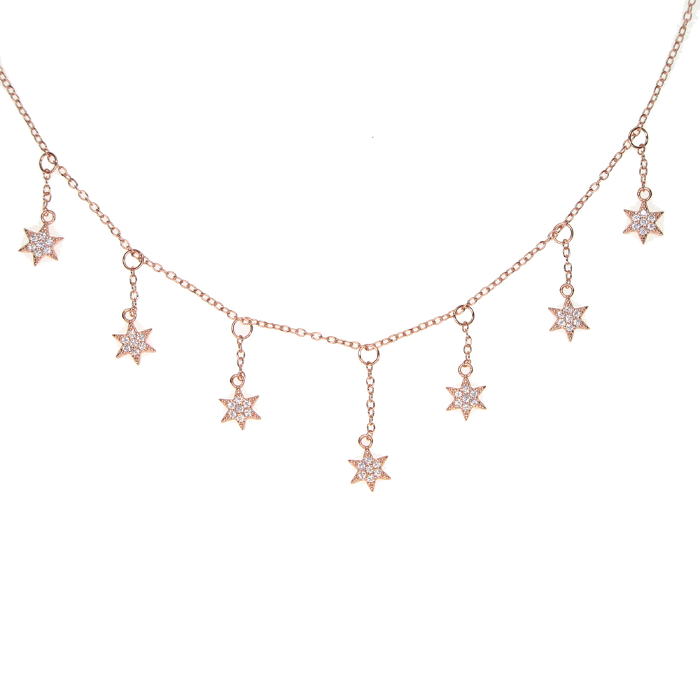 high quality 100% 925 sterling silver pave AAA cubic zirconia delicate chain Star charm tassel chain choker statement necklace