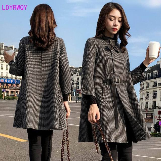 2019 autumn new Korean women's splicing stand collar single-breasted seven-point sleeves fresh and lovely long cloak wool coat