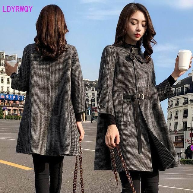 2019 di autunno nuove donne Coreane splicing del collare del basamento monopetto sette point maniche fresca e bella lungo mantello di lana cappotto di lana