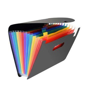 13 Pockets Multicolor Expanding File Folder A4 Bag Women Briefcases Receipt File Bill Folders Document Organizer elastic bill bag business office plastic bill fold expanding pocket folders as bill holder