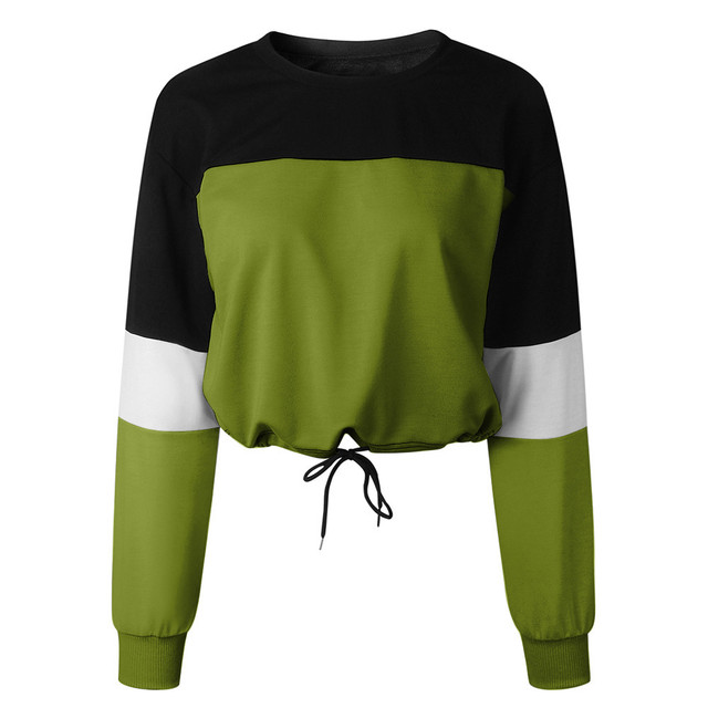Jaycosin Fashion Womens Long Sleeve Splcing Color Sweatshirt Casual Cool Chic New Look Comfortable Pullover Tops Blouse 10