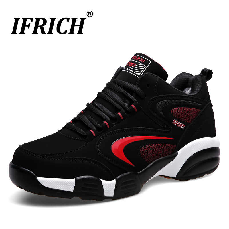 2019 Men Women Winter Thermal Sport Shoes Brands Warm Running Sneakers Black Fur Sport Trainers Leather Athletic Sneakers Men