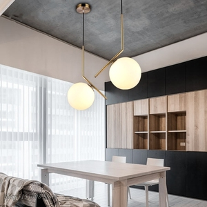 Image 2 - Modern Glass Ball Pendant Light kitchen hanging lamps Hang Lamp Nordic Home Decor Light Fixtures christmas decorations for home