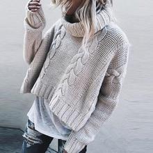 Suéter grueso de las mujeres de moda vintage cálido liso de las mujeres de invierno otoño 2019 suéteres Pullover pequeño alto cuello redondo caqui