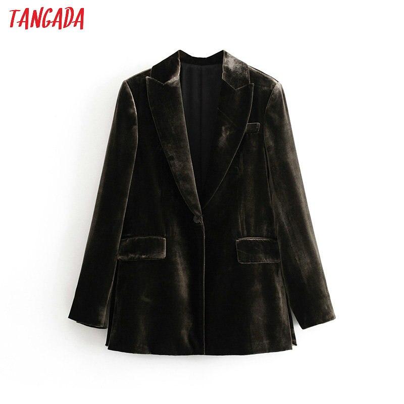 Tangada Women Black Velvet Suit Jacket Long Sleeve Elegant Ladies Vintage Work Blazer Coat 3H423