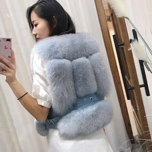 Image 3 - Gilet de fourrure de renard véritable, Design court, Gilets chauds à la mode avec Rivet en cuir, nouveauté 2020