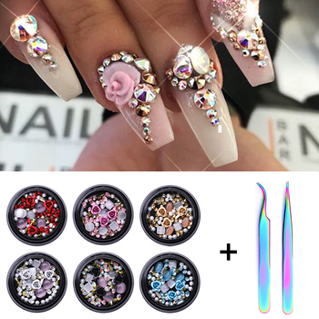 1/2Pcs Set  3D Nail Rhinestones Stones Mixed Colorful DIY Design Decals with Nail Curved Tweezer Crystals Nail Art Decorations