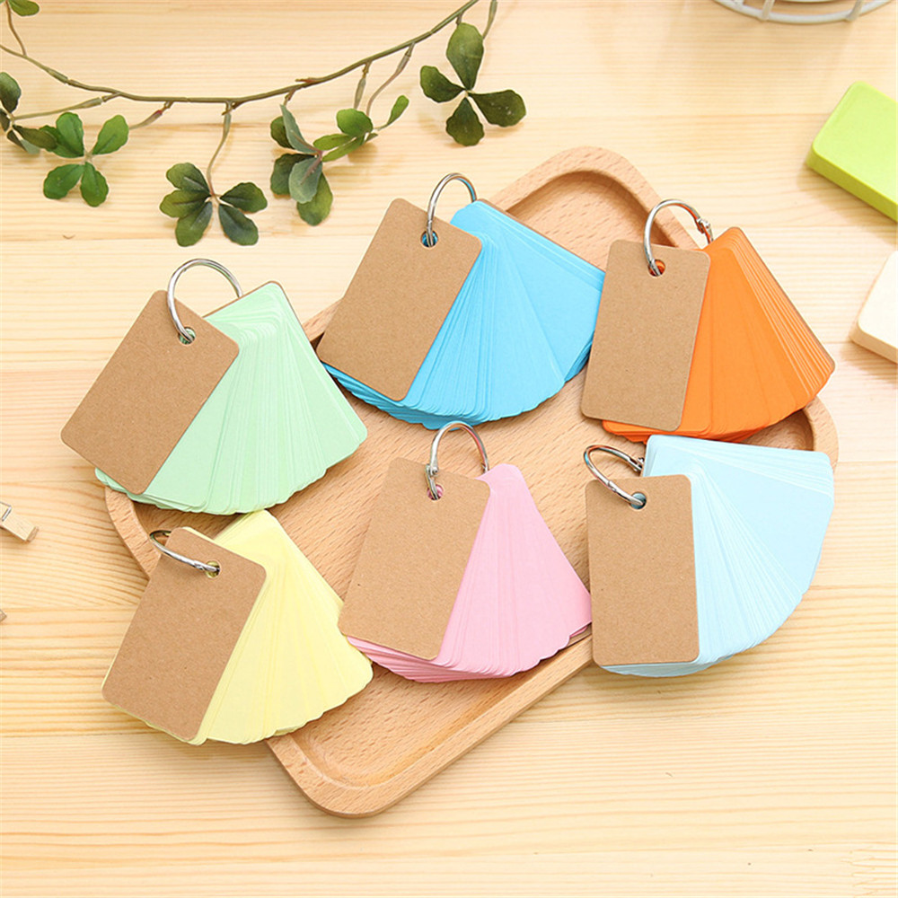 Korean Ring Buckle Loose-leaf Ring Book Portable Notepad Can Tear Small Print Book 90 Cards Water And Oil Resistant Notebook