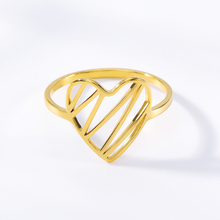 Adjustable Gold Colour Ring Hollowed-Out Heart Shape Open Ring Design Cute Fashion Love Jewelry For Women Young Girl Child Gifts cute solid color fishbone shape ring for women