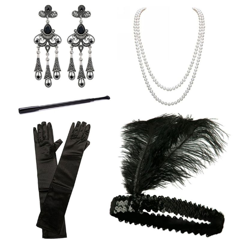 EDCRFV 1 Set 1920s Accessories Headband Earrings Necklace Gloves Cigarette Holder Cosplay Halloween Party Women Flapper Costume