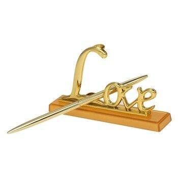 Złoty srebrny metal platerowany księga gości weselnych pióro do podpisywania zestaw Party pióro do podpisywania z miłością uchwyt na urodziny materiały ślubne