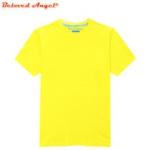 Maluch dziecko lato z krótkim rękawem T-Shirt dla dzieci bawełna czarny niebieski żółty czerwony t-shirty dla Baby Boy TShirt dziewczyna topy Tee 3-15 rok tanie tanio Beloved Angel COTTON Moda Tees Stałe REGULAR Pasuje prawda na wymiar weź swój normalny rozmiar Unisex TSV003 O-neck