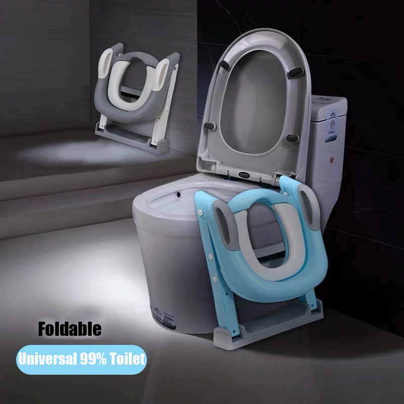 Folding Infant Potty Seat Urinal Backrest Training Chair with Step Stool Ladder for Baby Toddlers Boys Girls Safe Toilet Potties 3