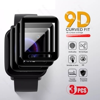 Protector de pantalla de fibra de vidrio curvado blando 9D para Huami Amazfit Bip S Lite, película protectora de pantalla, accesorios para reloj inteligente, 3 uds.