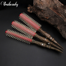 1 Set S/M/L Natural Wooden Handle Solid Wood Nylon Round Brush Hair Rolling For Drying Styling Curling Daily Use for
