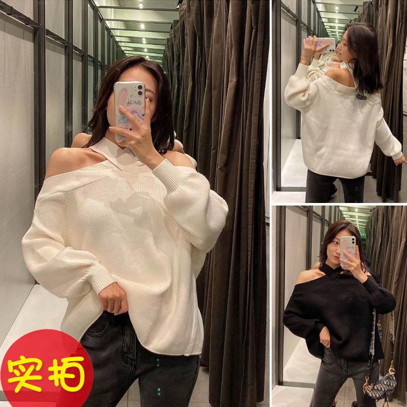 ZA 2019 Autumn New Black And White Color Sexy Strapless Loose Knit Fashion