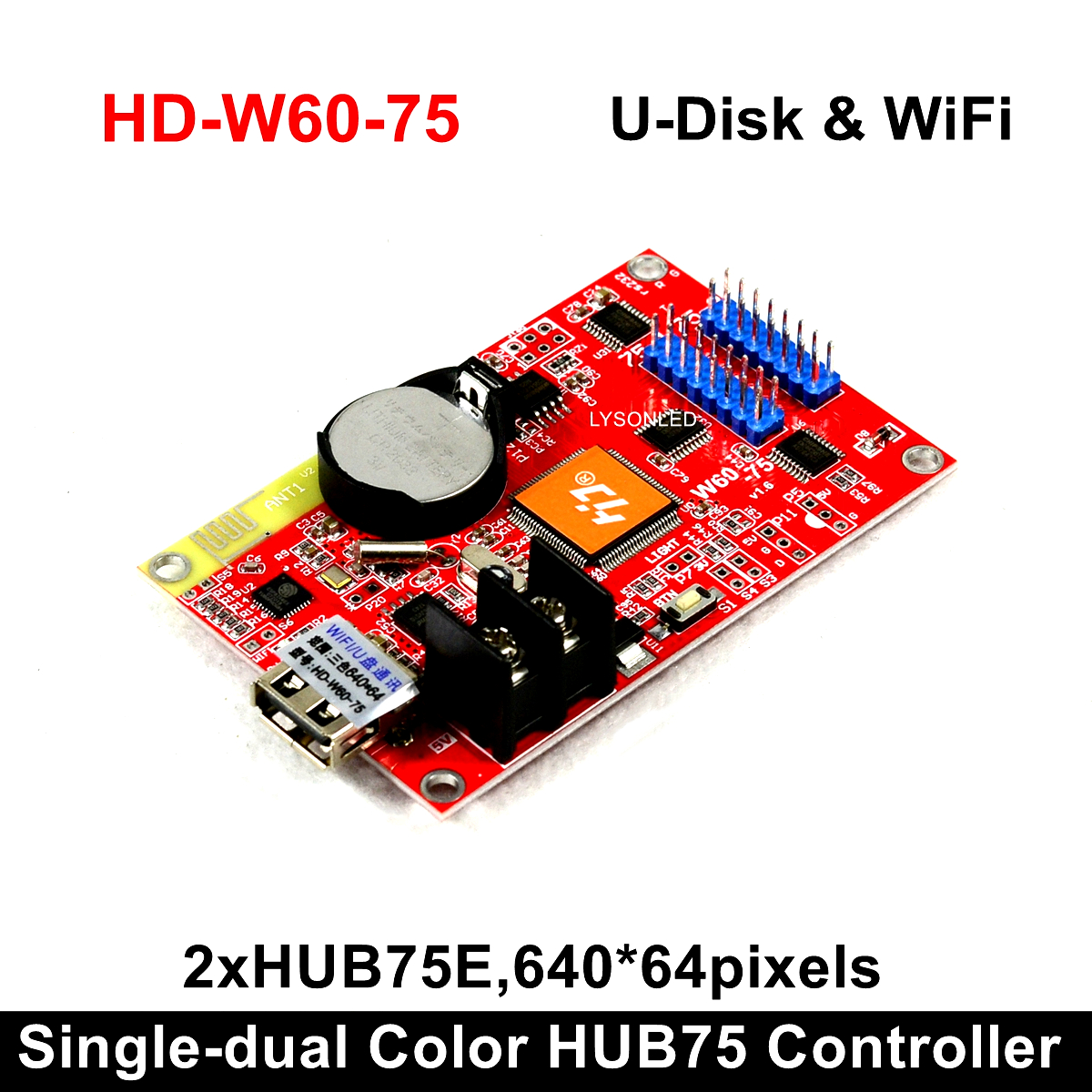 HD-W60-75 (2x Hub75B Ports) Small Graphic LED Control Card Compatiable With Full Color P4/P5/P6/P8/P10 LED Modules
