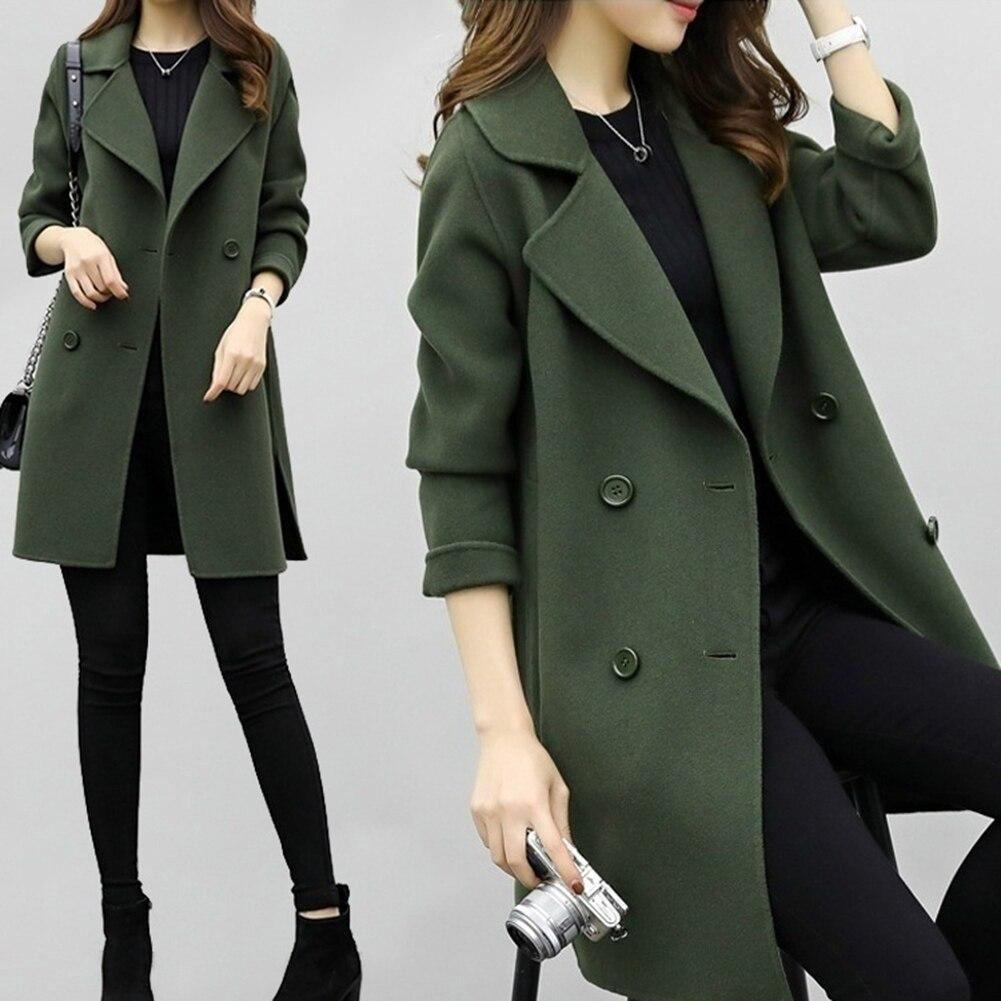 Женское пальто, осенне-зимние куртки, одноцветное двубортное шерстяное пальто средней длины с отворотом, Свободное пальто с длинным рукаво...